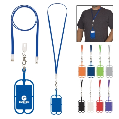 2-In-1 Charging Cable Lanyard with Phone Holder & Wallet