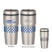 16 Oz. Stainless Steel Tumbler with Dotted Rubber Grips