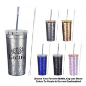 24 Oz. Sequin Tumbler with Park Avenue Straw